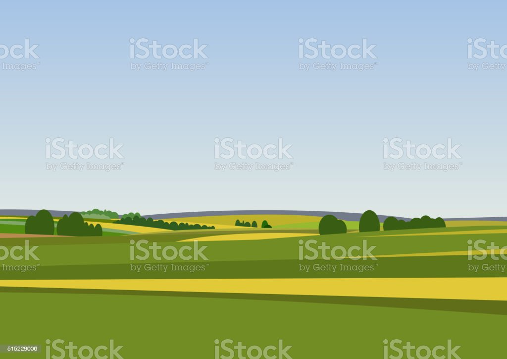 Green landscape with yellow fields. Lovely rural nature. Unlimited...