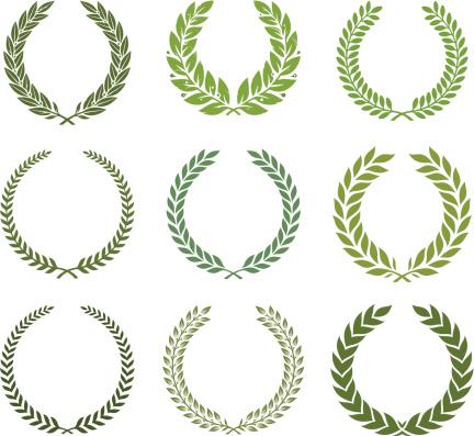 Green laurel wreath set