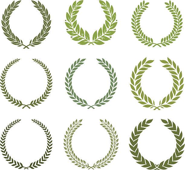 Green laurel wreath set Nine different shape laurels. bay tree stock illustrations