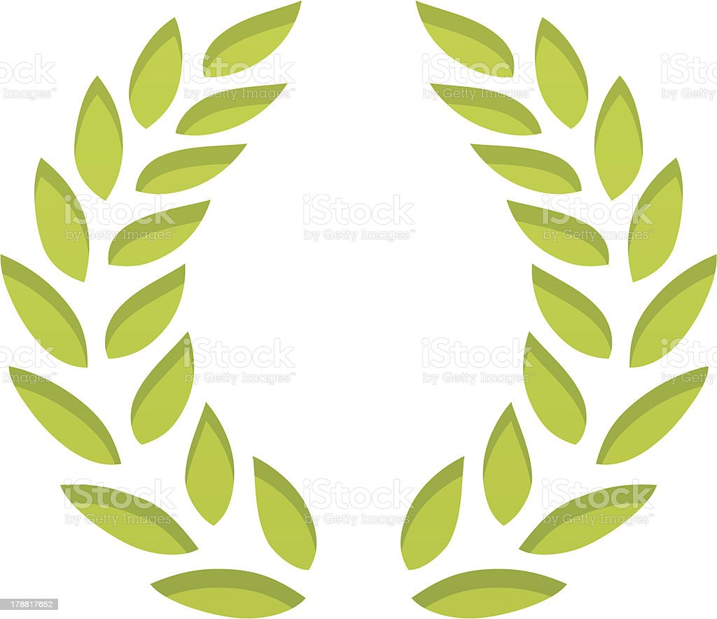 Green laurel wreath with shadows on individual layer. Large JPEG, ,...