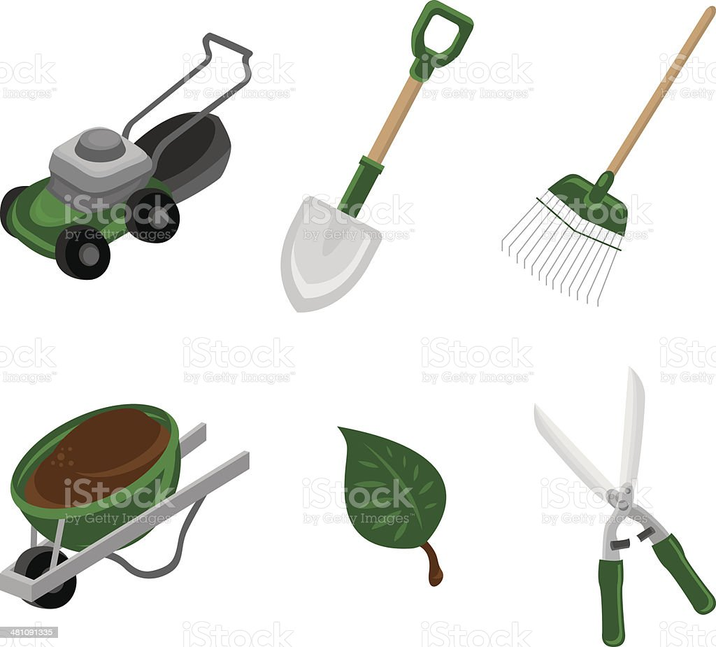 Green Lawncare & Landscaping Icon Set vector art illustration