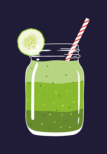 Green layered smoothie in mason jar with cucumber slice and swirled straw. Vector hand drawn illustration.