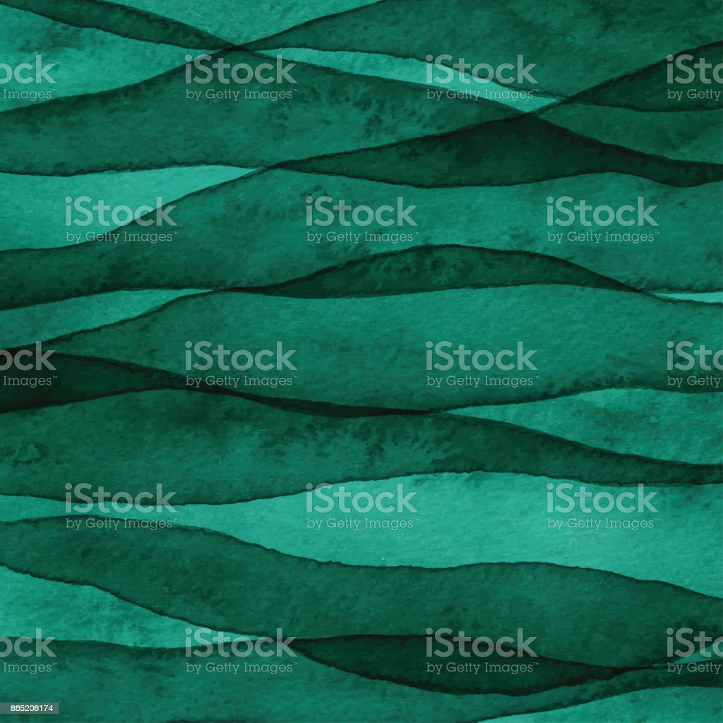 Green Layered Watercolor Background vector art illustration