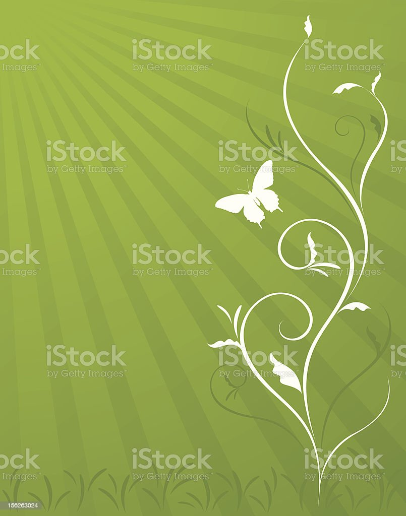 Green Layout Floral and Butterfly royalty-free stock vector art