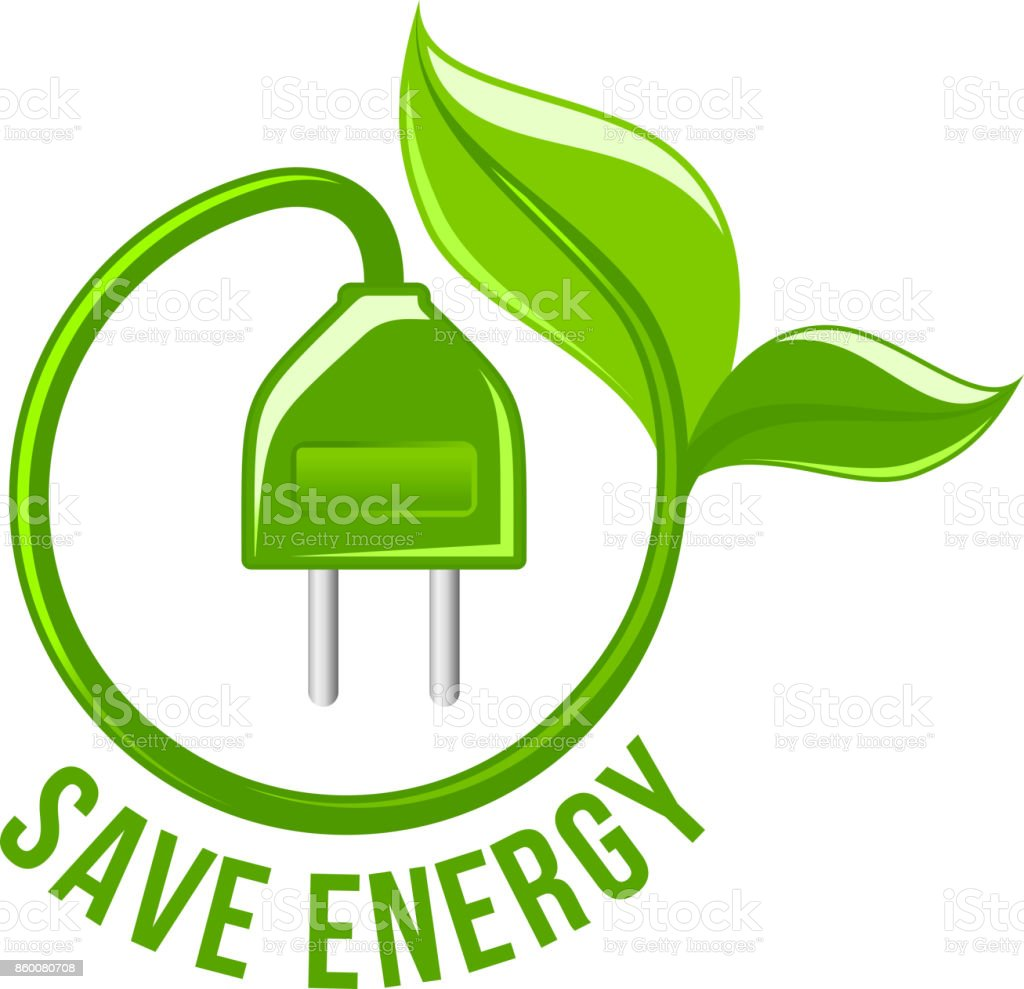 green leaf electric plug save energy vector icon stock