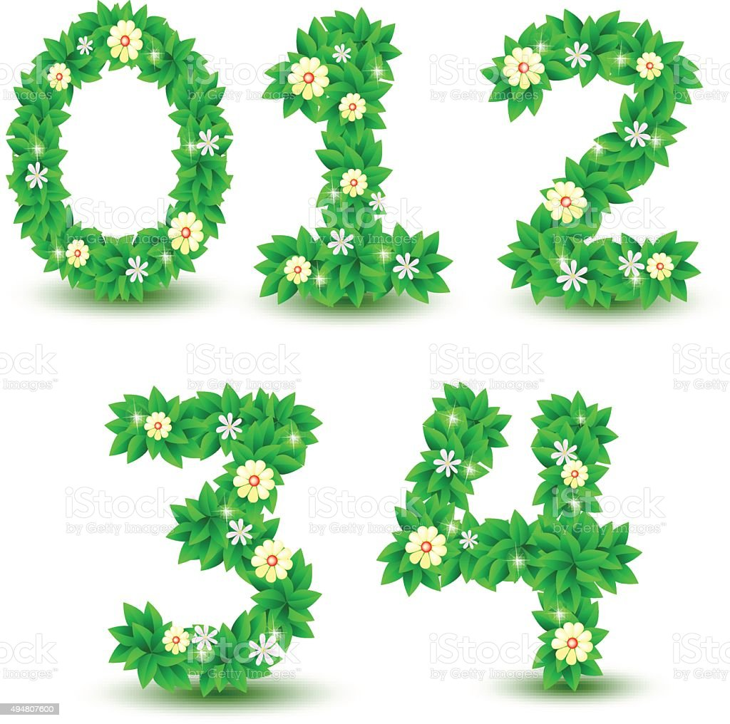 Green Leaf Flowers Font Vector Design Font Number 0 Stock Vector Art