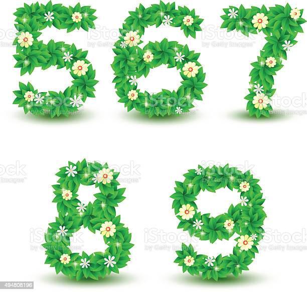 green Leaf flowers font vector design, font Number 5 6 7 8 9