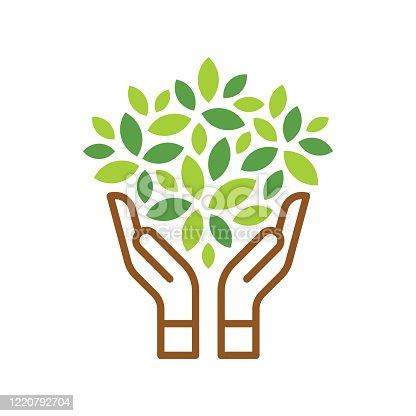 Green leaf & human hand