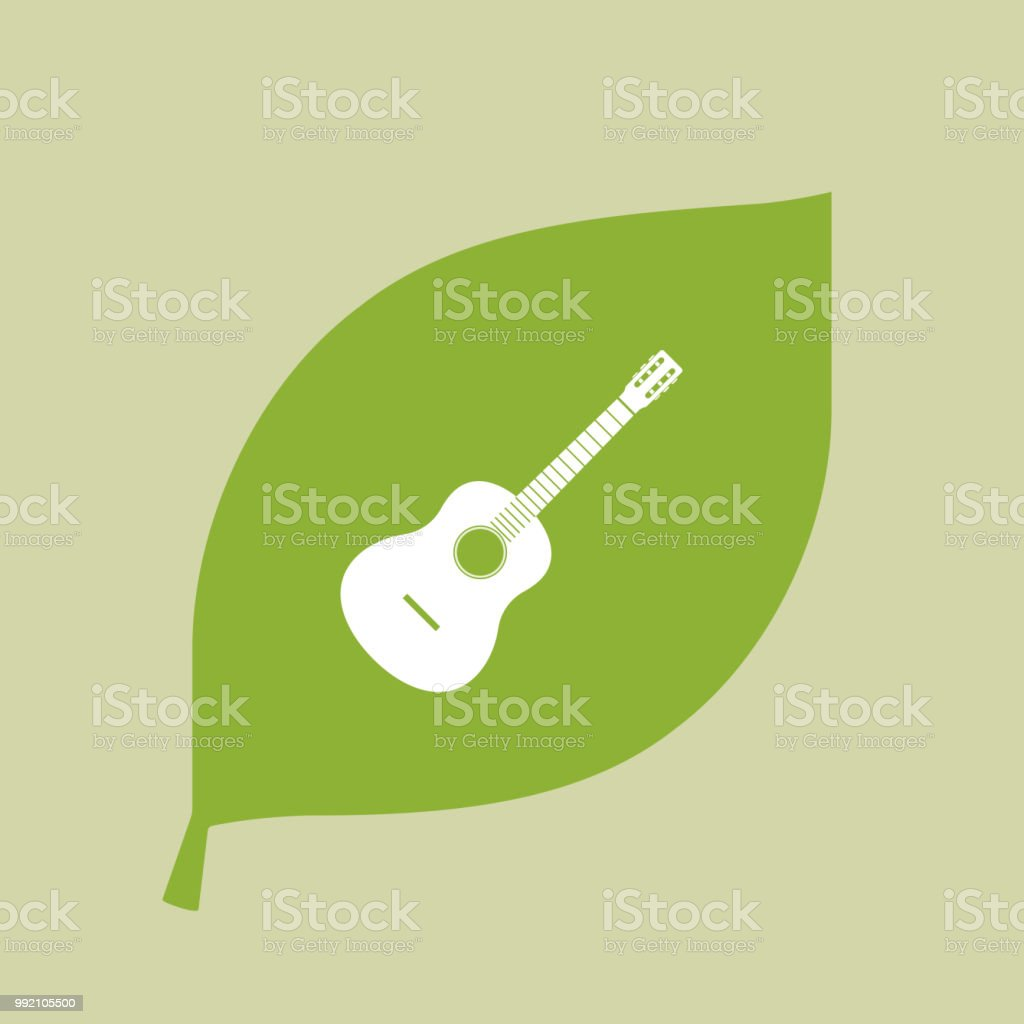 Green Leaf Icon With A Six String Acoustic Guitar Stock Vector Art