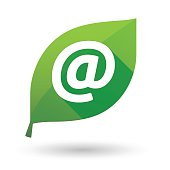 Green leaf icon with an email sign