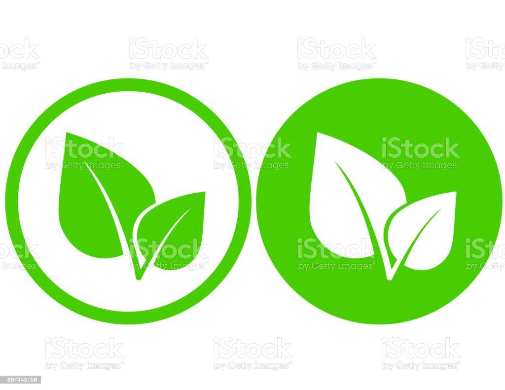 grünes Blatt-Symbole – Vektorgrafik