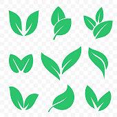Green leaf vector logo or bio eco and vegan leaf icons set