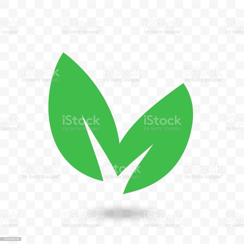 Green Leaf Vector Logo Or Bio Eco Organic Vegan Icon Stock
