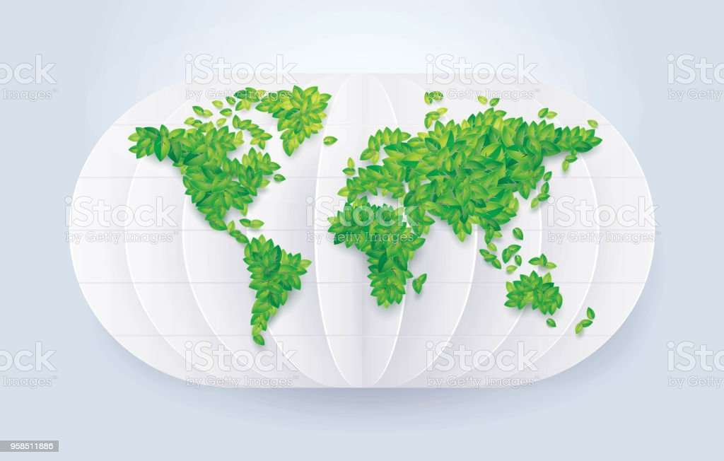 Green leafs world map save the world leaf earth globe map in data environment globe navigational equipment origami recycling green leafs world map gumiabroncs Gallery