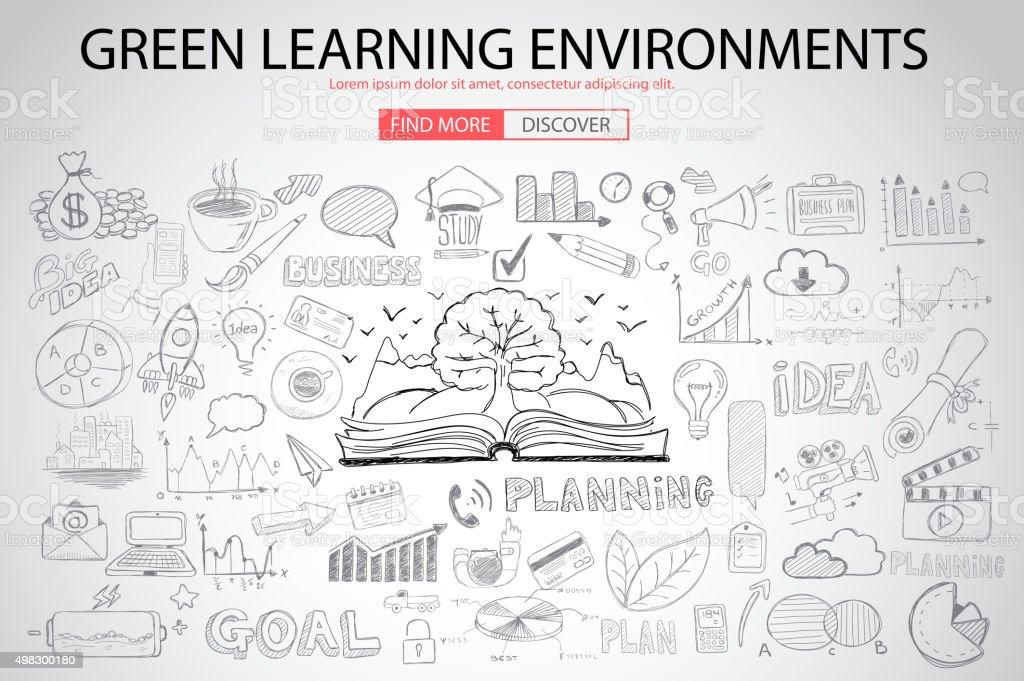 グリーンの学習環境に落書きデザインスタイル ベクターアートイラスト