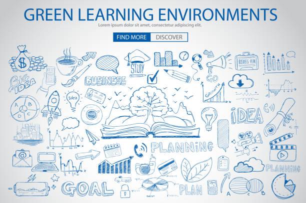 illustrations, cliparts, dessins animés et icônes de vert environnement d'apprentissage avec doodle style - naissance