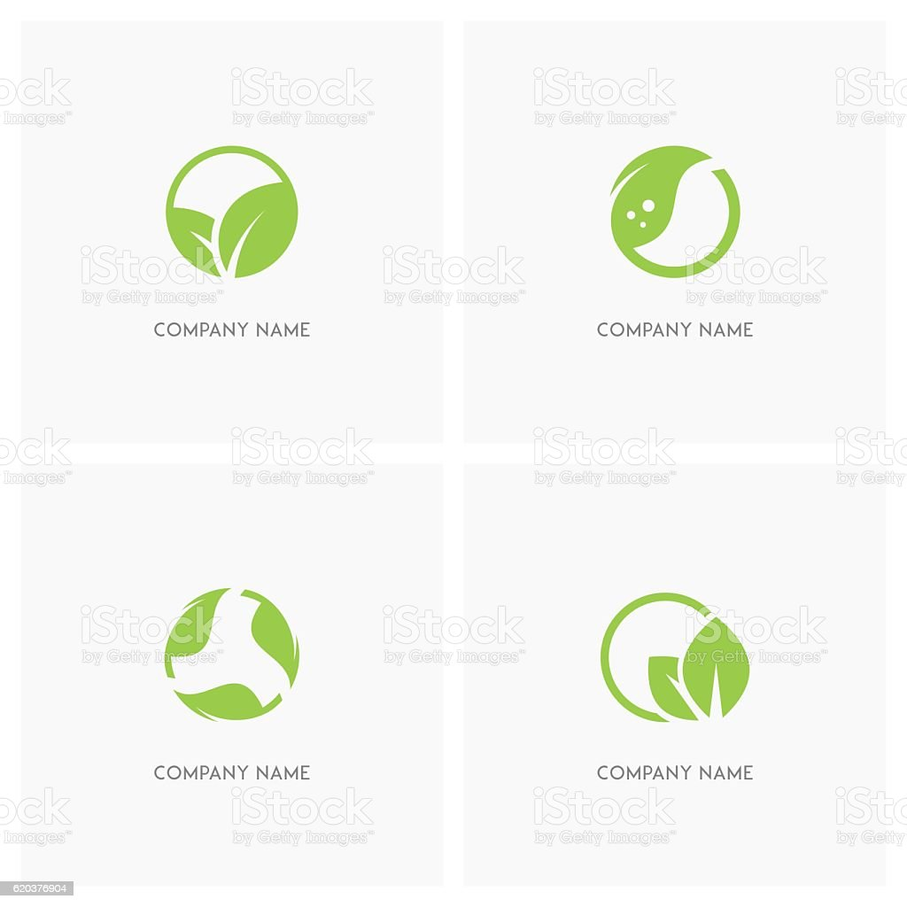 Green leaves and ecology design element vector art illustration