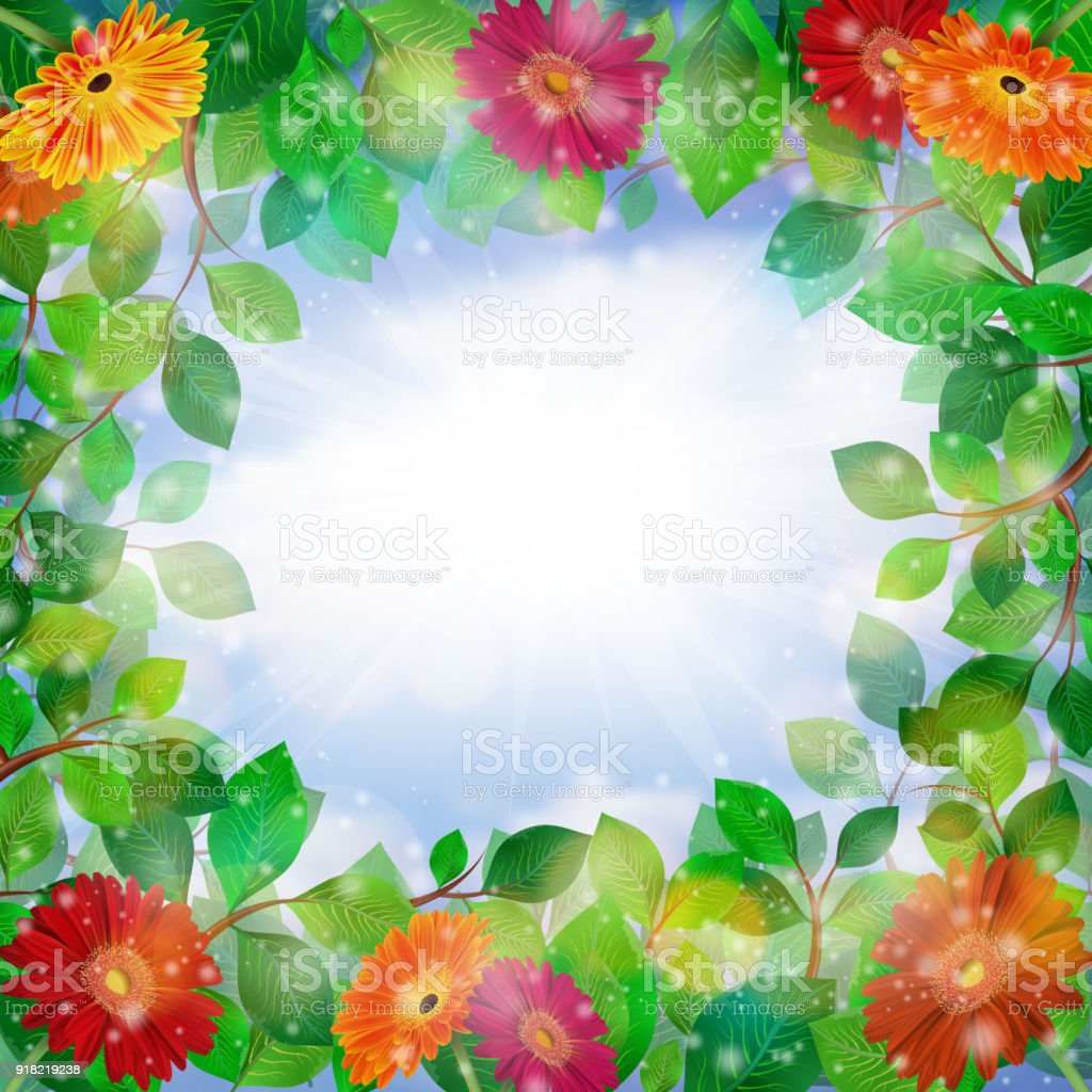 Green Leaves And Gerbera Daisy Flowers Stock Vector Art More