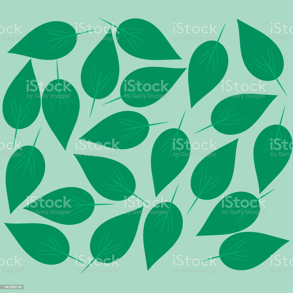 Green leaves background. vector art illustration