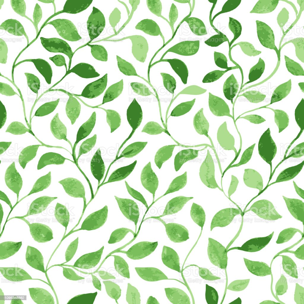 Vector Seamless Pattern. Green Leaves classic foliage. Watercolor...