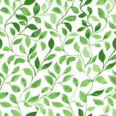 istock Green Leaves classic foliage pattern 1095388662
