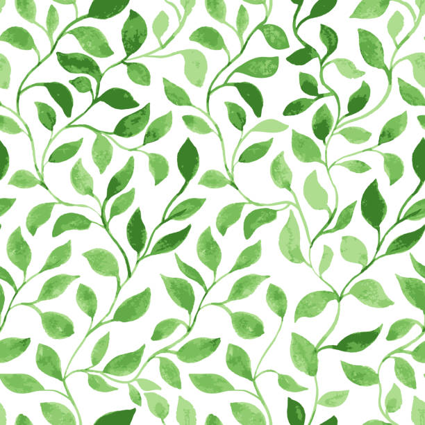 Green Leaves classic foliage pattern Vector Seamless Pattern. Green Leaves classic foliage. Watercolor Hand Drawn Gift Wrapping or Scrapbook. Fabric textile and Surface Design. Spring motif green leaf stock illustrations