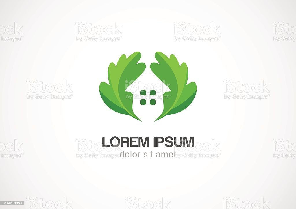 green leaves eco home, vector logo design template vector art illustration