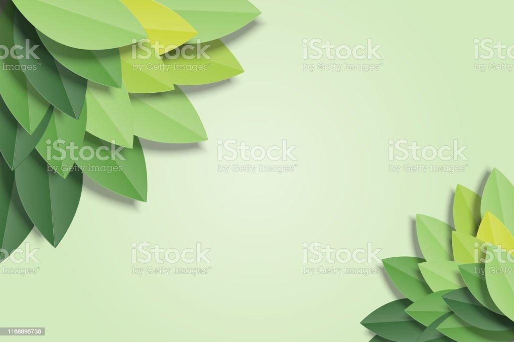 Groene bladeren frame op groene achtergrond. Trendy origami papier knippen stijl vector illustratie. - Royalty-free Abstract vectorkunst