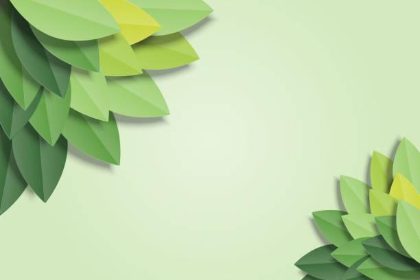 綠色背景上的綠葉框架。時髦的折紙剪紙風格向量插圖。 - 大自然 幅插畫檔、美工圖案、卡通及圖標