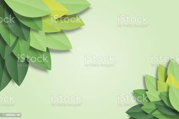 Groene Bladeren Frame Op Groene Achtergrond Trendy Origami Papier Knippen Stijl Vector Illustratie Stockvectorkunst en meer beelden van Abstract