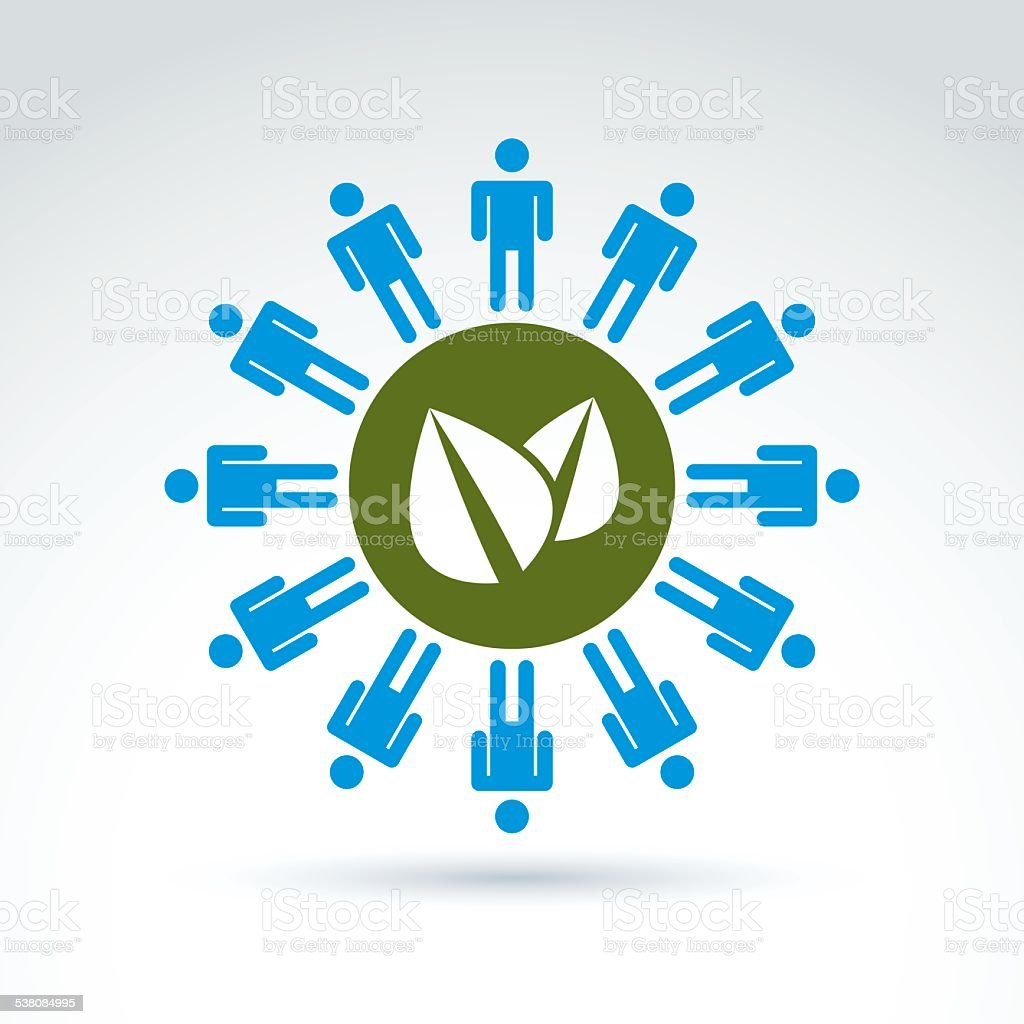 Green leaves global life and mankind symbolic icon, vector vector art illustration