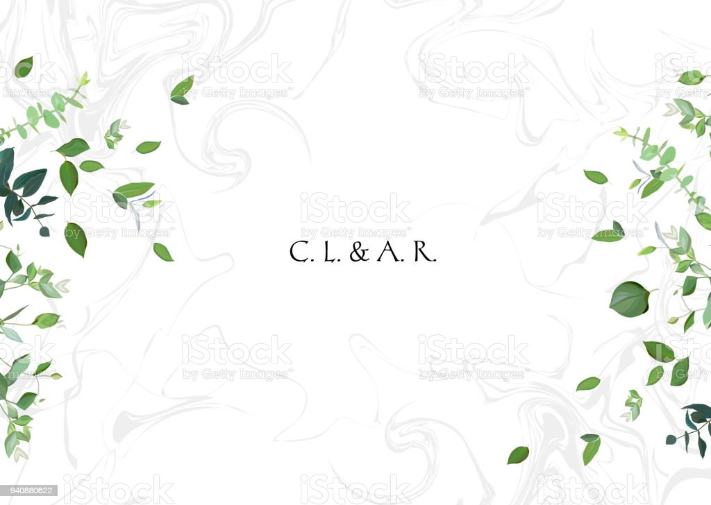 Green leaves on white marbled background vector art illustration