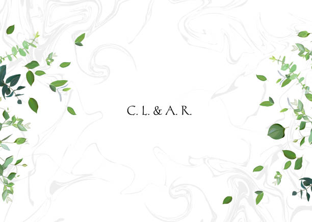 green leaves on white marbled background - wedding backgrounds stock illustrations, clip art, cartoons, & icons