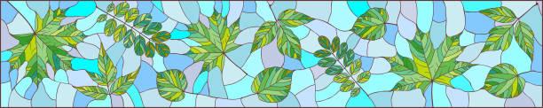 grün lässt panorama - mosaikglas stock-grafiken, -clipart, -cartoons und -symbole
