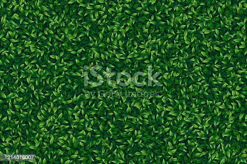 istock Green leaves realistic seamless background 1214016007
