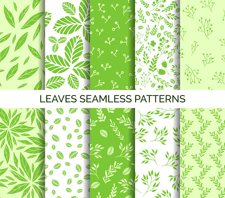 Green leaves seamless pattern. Set of vector backgrounds, fabric print