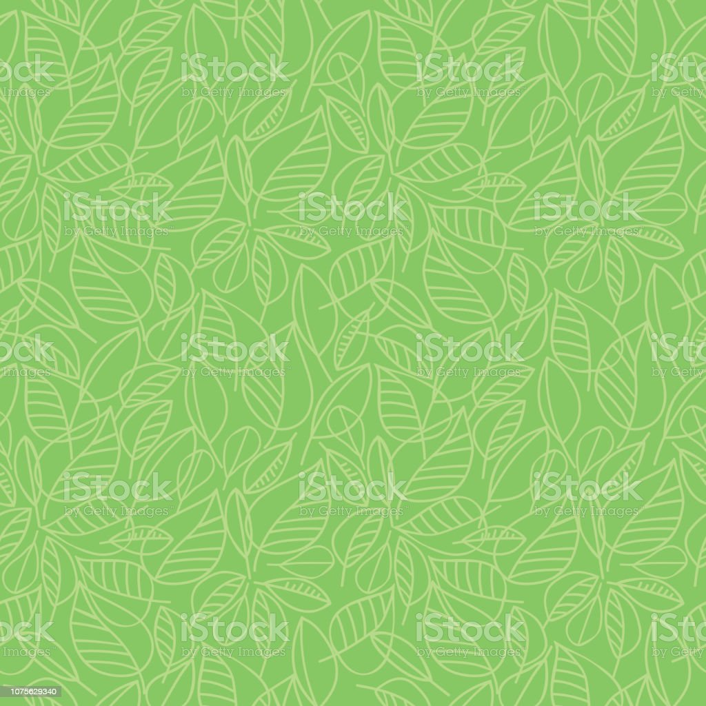 Green leaves seamless pattern - Grafika wektorowa royalty-free (Abstrakcja)