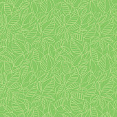 Vector seamless pattern with contour silhouettes of green leaves