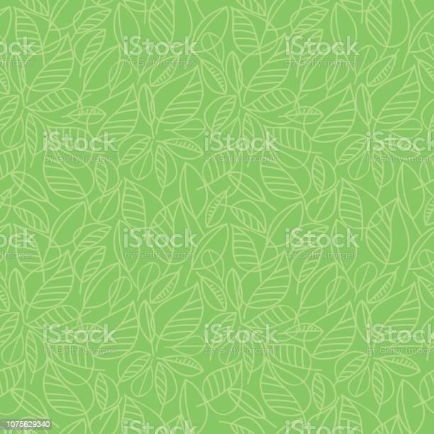 Green Leaves Seamless Pattern - Stockowe grafiki wektorowe i więcej obrazów Abstrakcja
