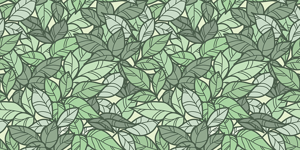 Green leaves seamless repeat pattern design, leaf background
