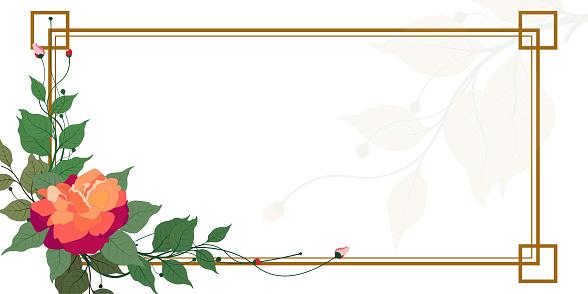 Green leaves vector wedding invitation card template design