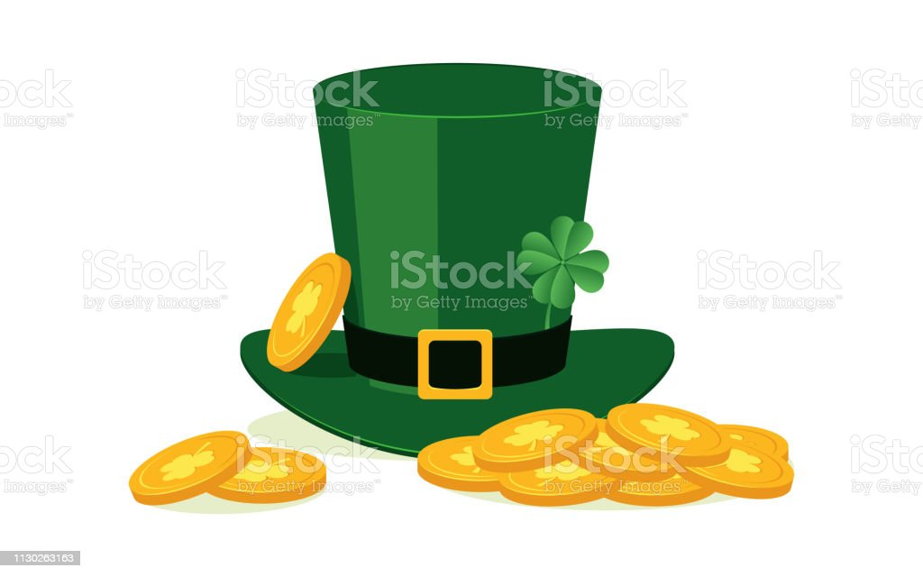 9f313b6fefd4d6 Green leprechaun hat with four leaf clover and golden coins in flat style  isolated on white background. - Illustration .