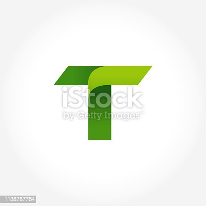 green letter T icon symbol template. alphabet icon design