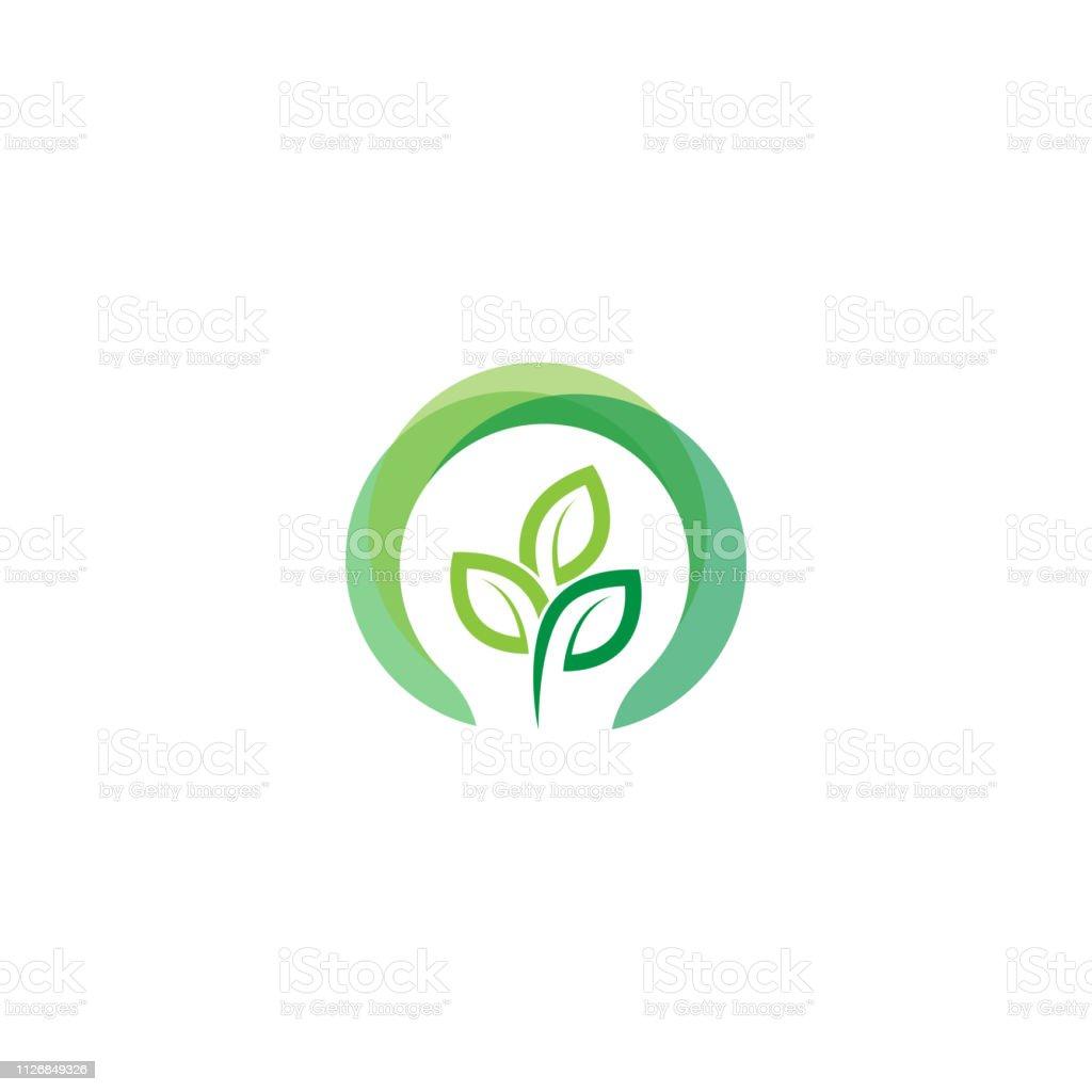 green light bulb leaf symbol logo vector. Logo of green energy....