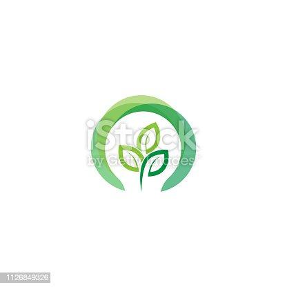 istock green light bulb leaf symbol logo vector.  Logo of green energy. Stylized eco logo biofuel. Renewable green energy logo - Vector 1126849326