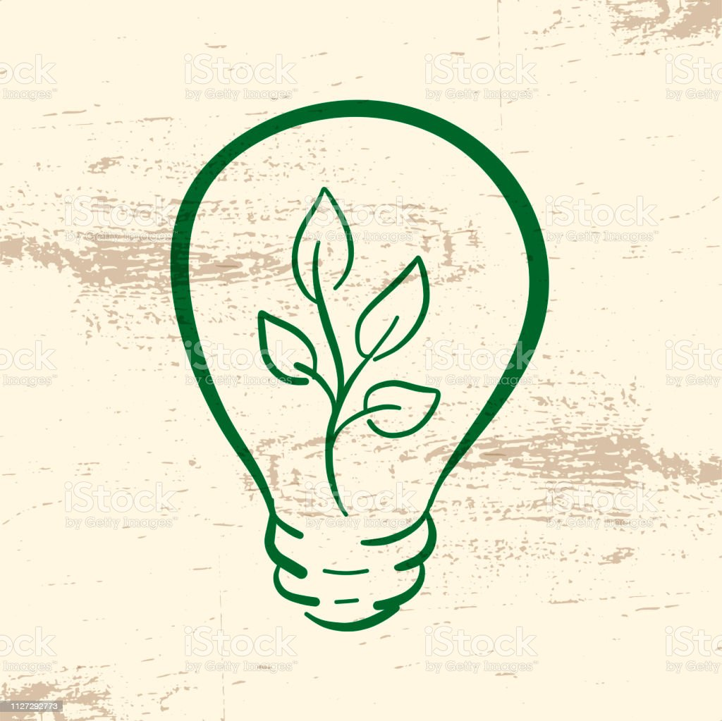 Green light bulb with branch and leaves doodle icon for symbol,...