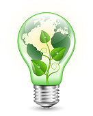 Green light bulb with Earth map