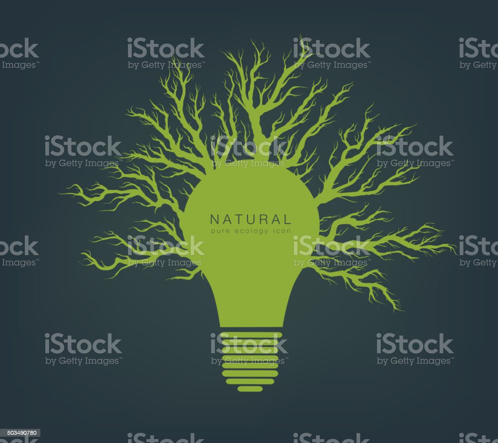 green light from tree and branches vector art illustration