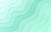 Light layered topographic abstract ripples mint waves background.