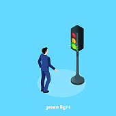 a man in a business suit and a traffic light with a burning green light, an isometric image